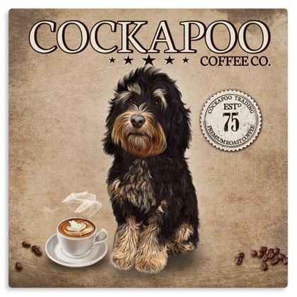 TRICOLOUR COCKAPOO COFFEE METAL PRINT