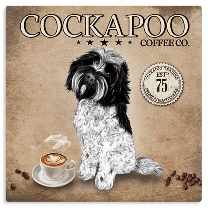 BLACK AND WHITE COCKAPOO COFFEE METAL PRINT