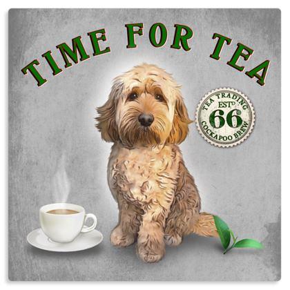 APRICOT COCKAPOO TIME FOR TEA METAL PRINT