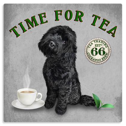 BLACK COCKAPOO TIME FOR TEA METAL PRINT