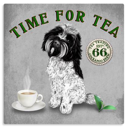 BLACK AND WHITE COCKAPOO TIME FOR TEA METAL PRINT