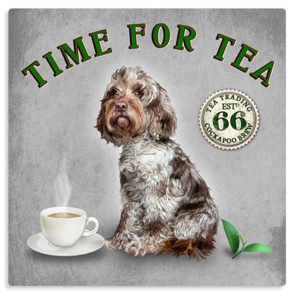 CHOCOLATE MERLE TIME FOR TEA METAL PRINT