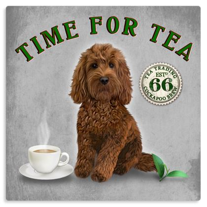 RED COCKAPOO TIME FOR TEA METAL PRINT