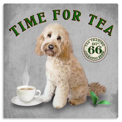 CREAM COCKAPOO TIME FOR TEA METAL PRINT