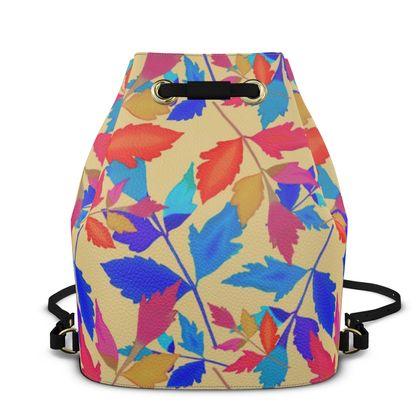 Bucket Backpack  Blue, Orange  Cathedral Leaves  Kaleidoscope