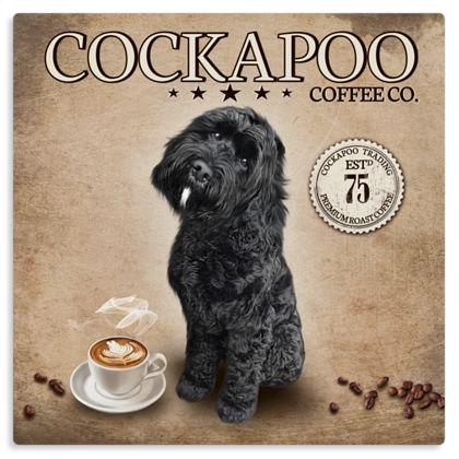 BLACK COCKAPOO WHITE CHIN COFFEE METAL PRINT
