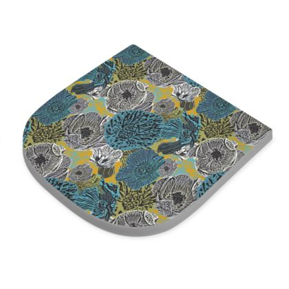 Seat Pad Turquoise, Yellow  Anemone  Goldfinch