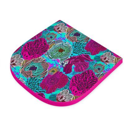 Seat Pad  Pink, Blue  Anemone  Rainbow