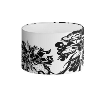 Drum Lamp Shade - Lampskärm - Black Ink White