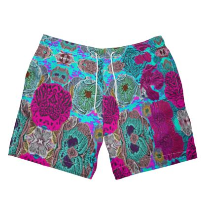 Mens Swimming Shorts floral  Anemone  Rainbow