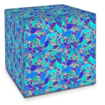 Cube Blue, Turquoise, [large shown]  Cathedral Leaves  Blue