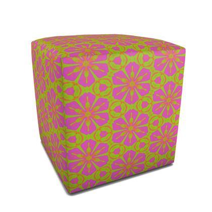 Square Pouffe  Green, Pink, Orange  Geometric Florals  Dancing Flowersls
