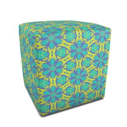 Square Pouffe Green, Blue, Yellow  Geometric Florals  Hidden Gems