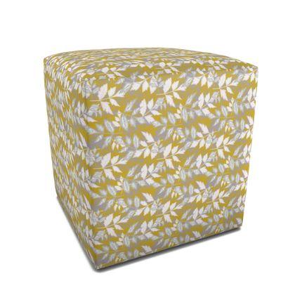 Square Pouffe Gold, White  Slipstream  Treasure