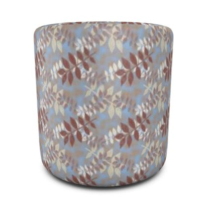Round Pouffe Blue, Brown  Etched Leaves  Dusky Blue