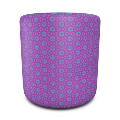 Round Pouffe Purple, Blue  Geometric Florals  Pansy, Majestic Mauve