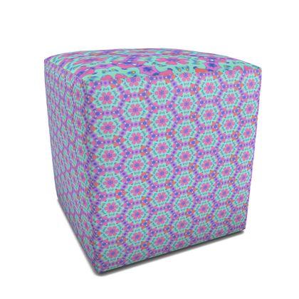 Square Pouffe Turquoise, Mauve  Geometric Florals  Bubbles
