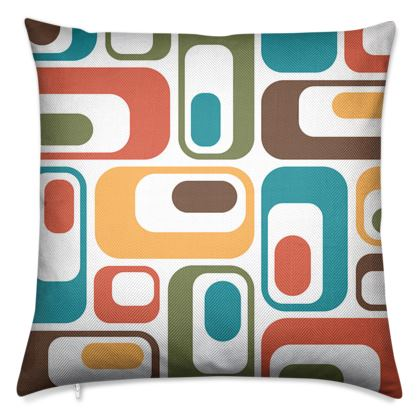 Luxury Cushion Retro ovals brown teal red green white