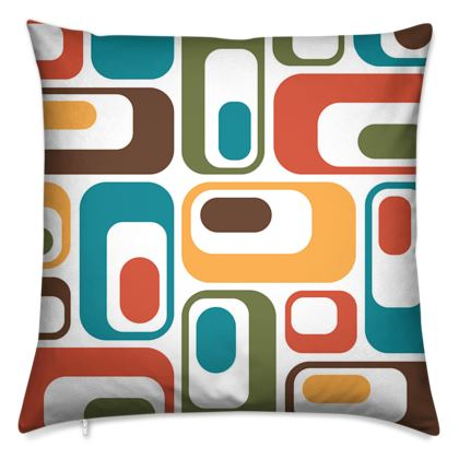 Cushion Retro ovals brown teal red green white
