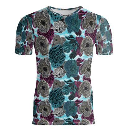 Slim Fit Mens T - Shirt Teal  Anemone  Triumphant Teal