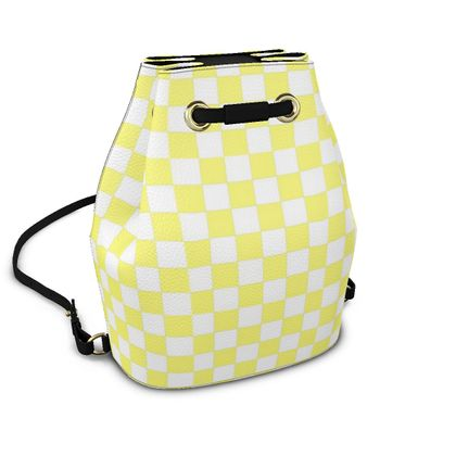 Sunbleached Yellow and White Checkerboard Bucket Backpack