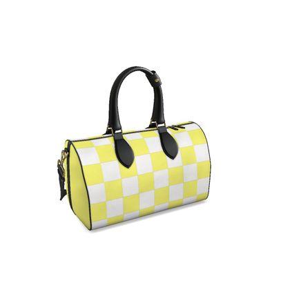 Designer Duffle Bag Yellow White Check