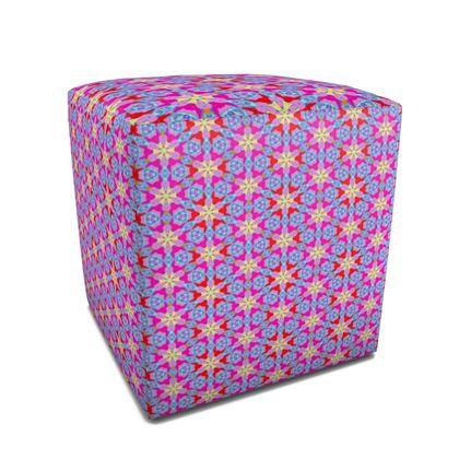 Square  Pouffe Blue, Pink  Geometric Florals  Nouveau