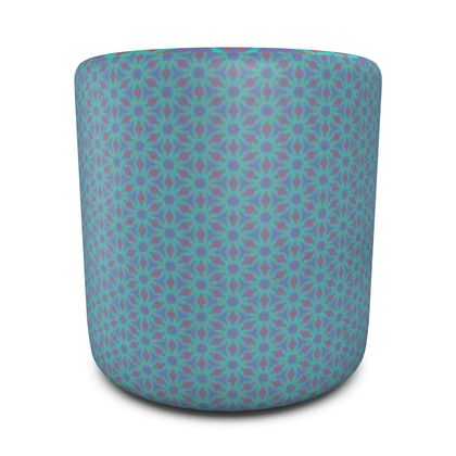 Round Pouffe Turquoise, Red  Geometric Florals  Temple