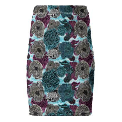 Pencil Skirt Teal, Aubergine  Anemone  Triumphant Teal