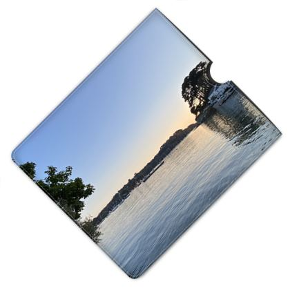 Leather iPad case - Evening at the Ferry Boat