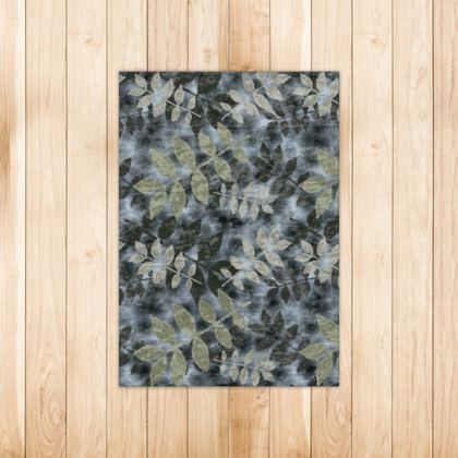 Rugs Black, Grey [90 cm x 63 cm shown]  Etched Leaves  Volcanic