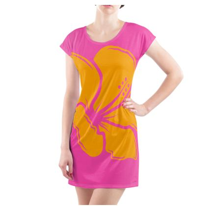 Ladies Tunic T Shirt- Emmeline Anne Flower Statement Pink/Orange