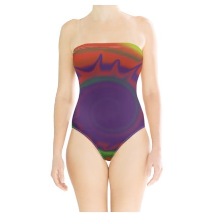 Strapless Swimsuit - Colourful Spiked Ball