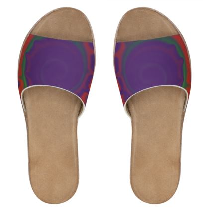 Womens Leather Sliders - Colourful Spiked Ball