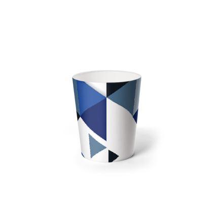 Waste Paper Bin - Geometric Triangles Blue