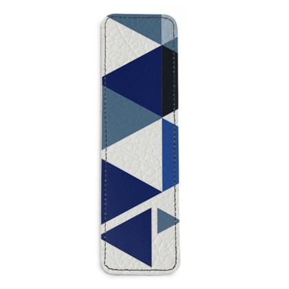 Leather Bookmarks - Geometric Triangles Blue