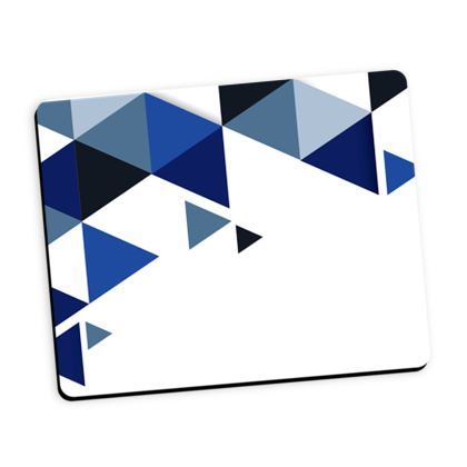 Mouse Mat - Geometric Triangles Blue