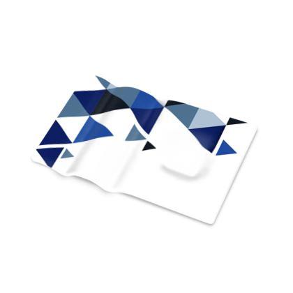 Pen Tray - Geometric Triangles Blue