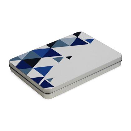 Pencil Case Box - Geometric Triangles Blue