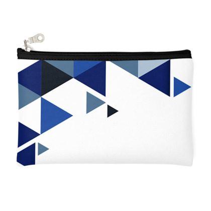 Pencil Case - Geometric Triangles Blue