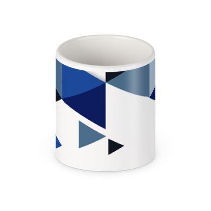 Pen Pot - Geometric Triangles Blue
