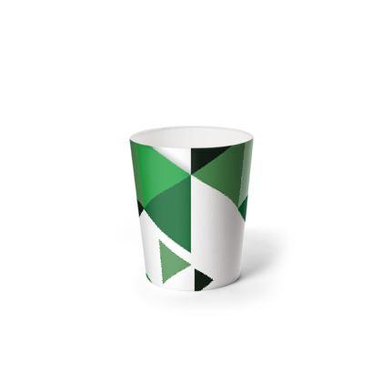 Waste Paper Bin - Geometric Triangles Green