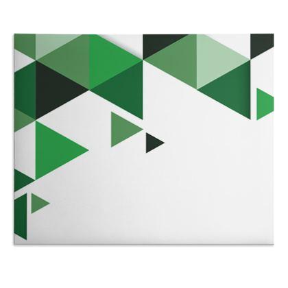 Desk Pad - Geometric Triangles Green