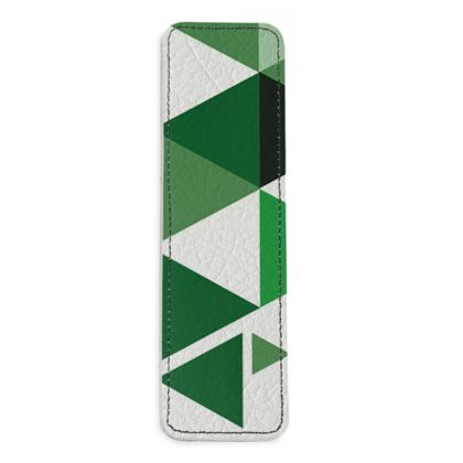 Leather Bookmarks - Geometric Triangles Green