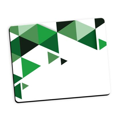 Mouse Mat - Geometric Triangles Green