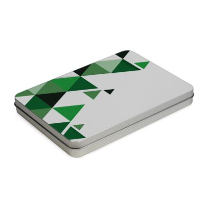 Pencil Case Box - Geometric Triangles Green