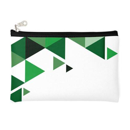 Pencil Case - Geometric Triangles Green