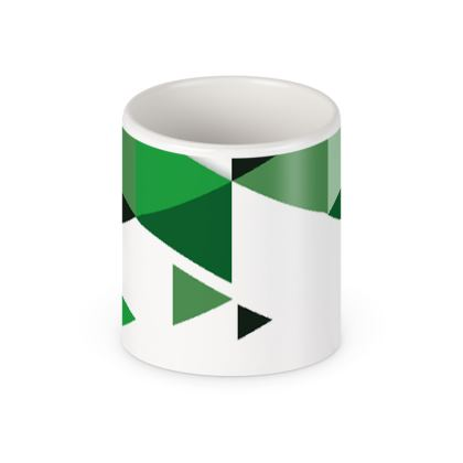 Pen Pot - Geometric Triangles Green