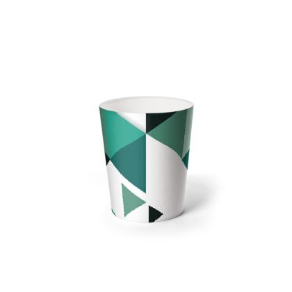 Waste Paper Bin - Geometric Triangles Jade