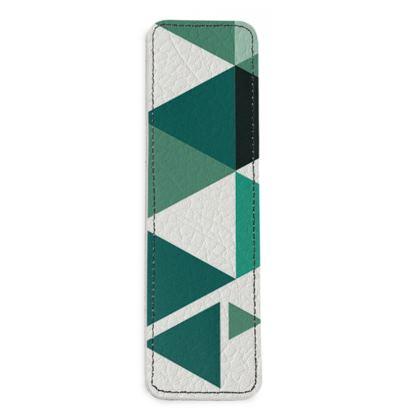 Leather Bookmarks - Geometric Triangles Jade